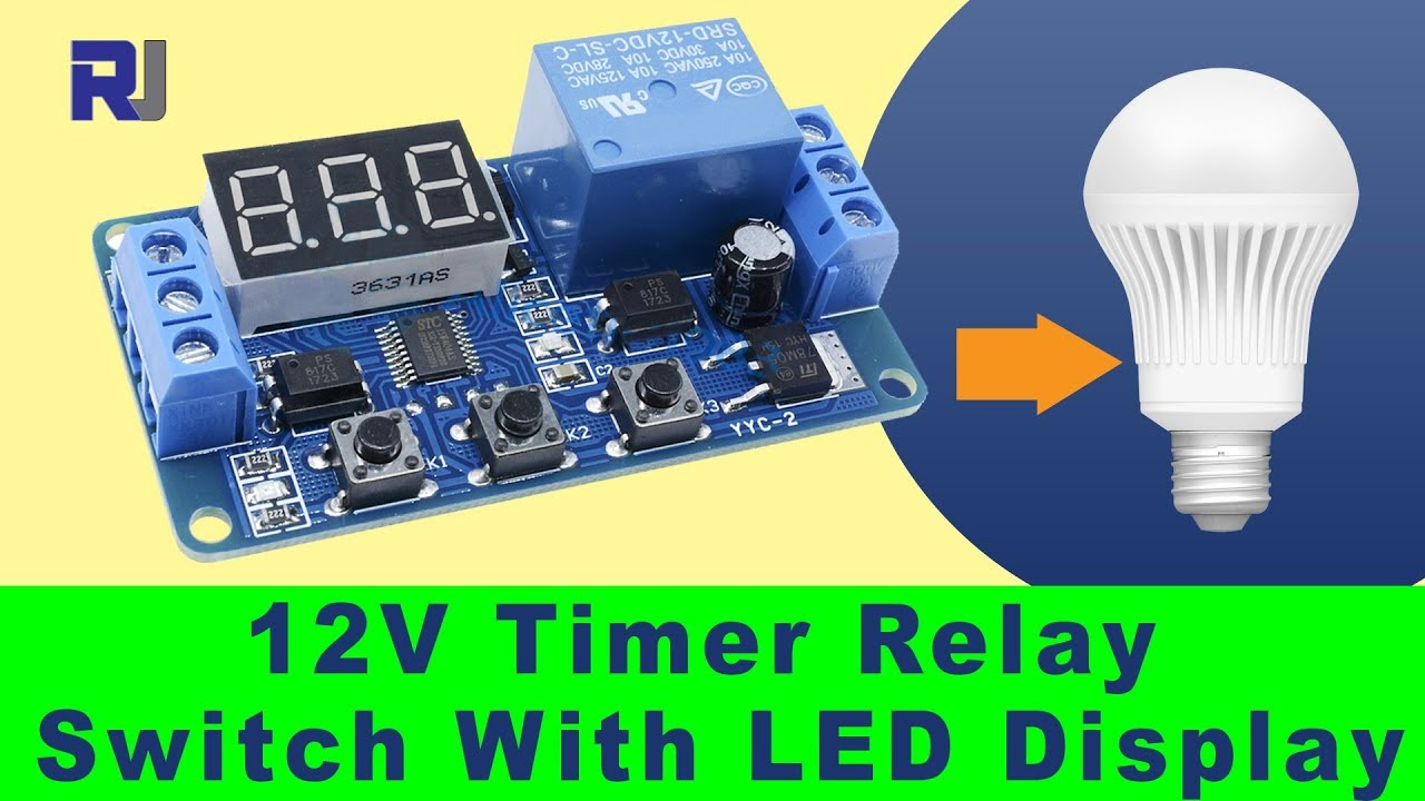 how to use 12v relay with led display delay timer module p1 to p4 [ 1280 x 720 Pixel ]