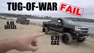 DIESEL VS. GAS TRUCK TUG-OF-WAR FAIL!