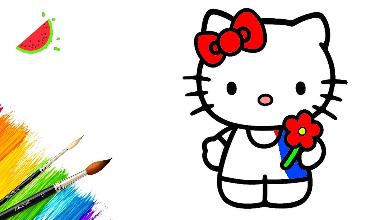 Как нарисовать HELLO KITTY / Раскраски для малышей - YouTube