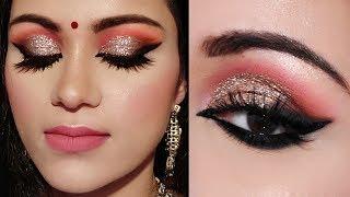 साड़ी के साथ कैसे करें मेकअप Full Glam INDIAN PARTY WEDDING SANGEET MAKEUP For SAREE/SUIT In Hindi
