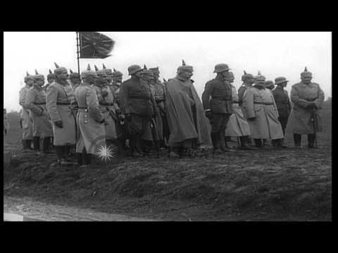 German troops parade before Kaiser of Wilhelm II in Germany during World War I. HD Stock Footage
