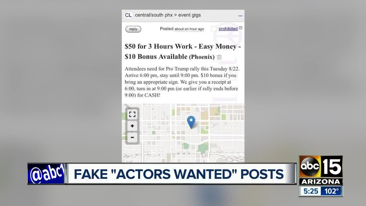 Ads on Craigslist asking for Trump actors to show up in Phoenix?