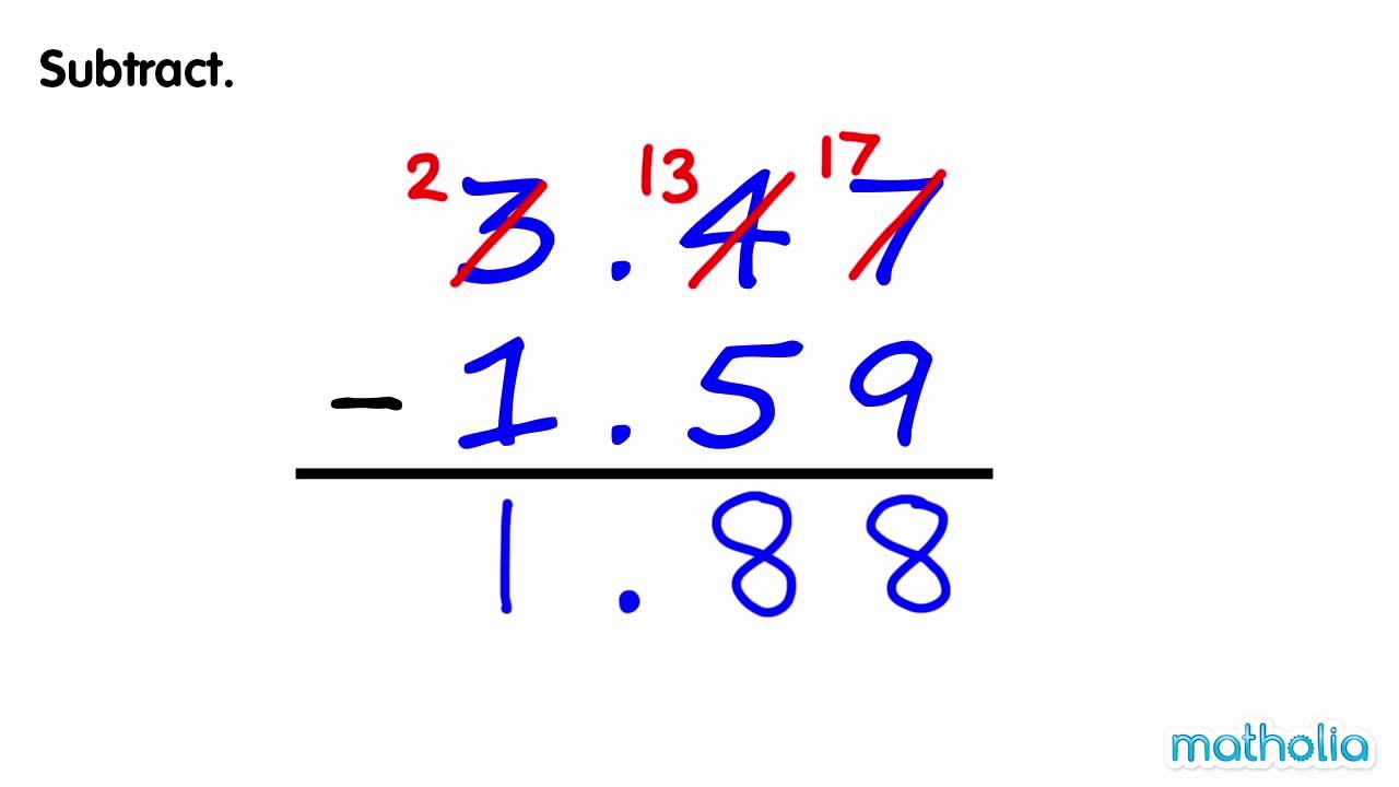 hight resolution of Subtraction of Decimals (With Regrouping) - YouTube