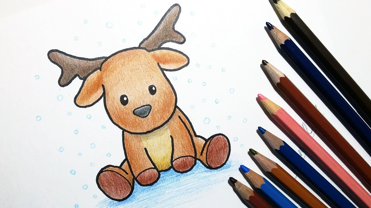 Christmas Cartoon Drawings.How To Draw A Cute Cartoon Reindeer How To Draw Christmas Stuff