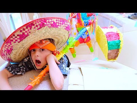 STAIR SLIDE! BASHING PINATA BLINDFOLDED! Cinco De Mayo Party!