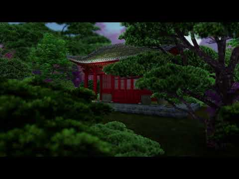 ( CGI 4k Stock Footage ) Japansese asian buddhist architecture temple zen garden 10