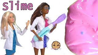 Giant Slime Lab Take Over with Barbie Dolls ! Pretend Toy Play Video - Cookie Swirl C