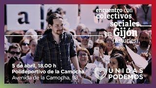 Encuentro de Pablo Iglesias con colectivos sociales en Gijón