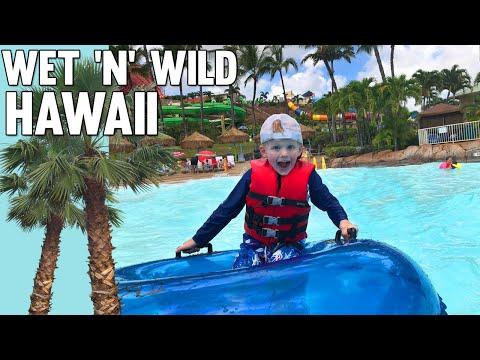 5 Year Old Braves HUGE Slide! Wet & Wild Water Park Hawaii
