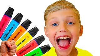 Dolguniki pretends to play with his Magic Pen - Preschool toddler learn color