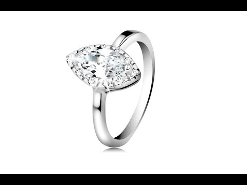Jewellery - Rhodium plated ring, 925 silver - clear zircon grain with lustrous border