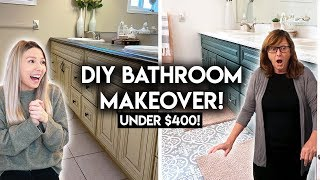 DIY BATHROOM MAKEOVER ON A BUDGET | RENTER FRIENDLY