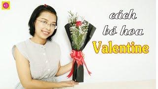 Hoa Valentine   Cách bó 1 bông HOA HỒNG Đỏ ngọt ngào
