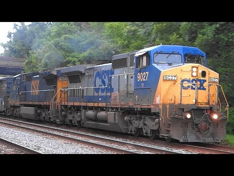 A Yellow Nose Two Leading CSX Freight Train Q372