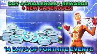 Day 4 Of 14 Days Of Fortnite Challenges + Rewards + LTM Gamemodes!! Fast Challenge Completion Strat!