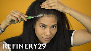 My Favorite Way To Lay Edges | Hair Me Out | Refinery29