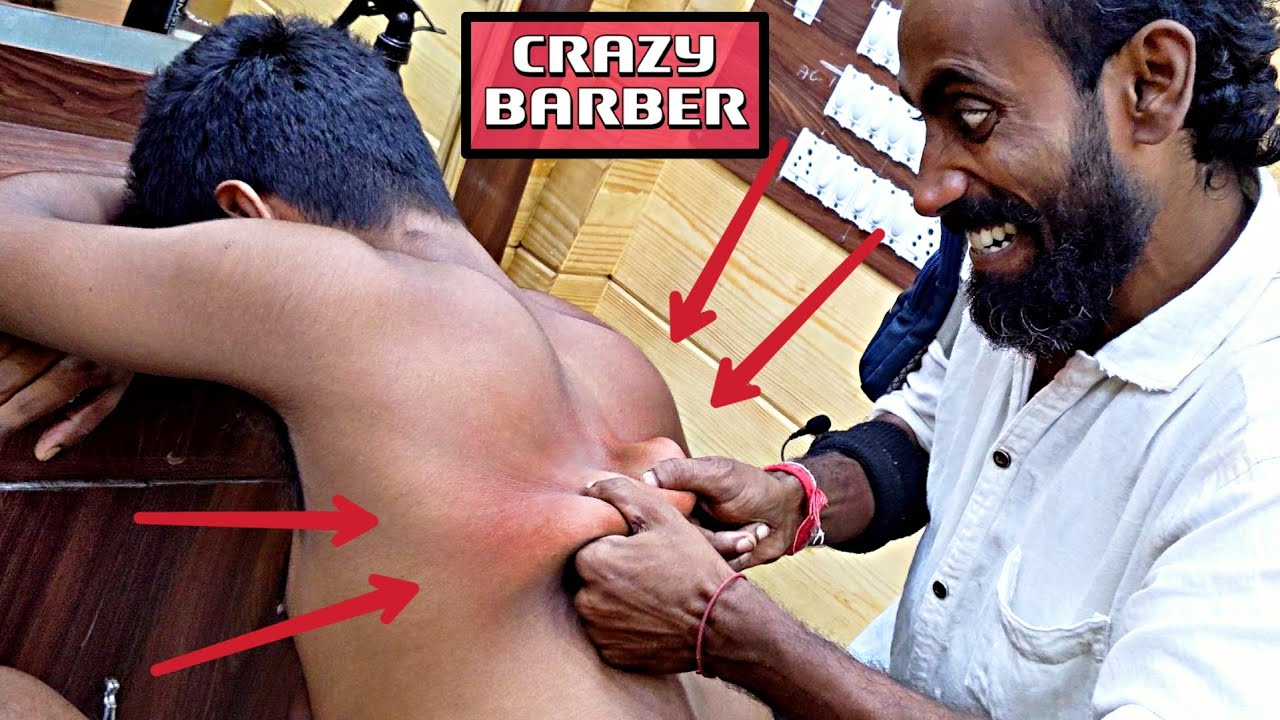 Work Stress Relief Head & Body massage by Crazy barber / Neck Cracking | Indian ASMR
