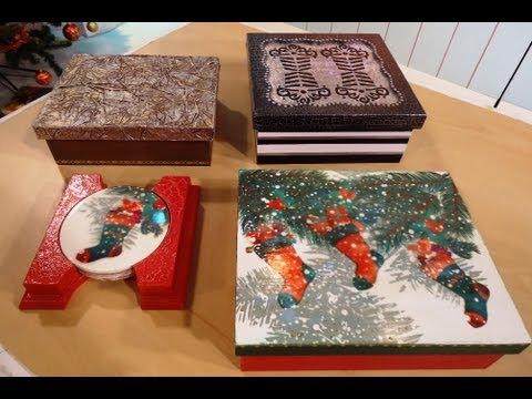 Como hacer efectos metalizados sobre cajas navide as youtube - Como hacer decoraciones navidenas ...