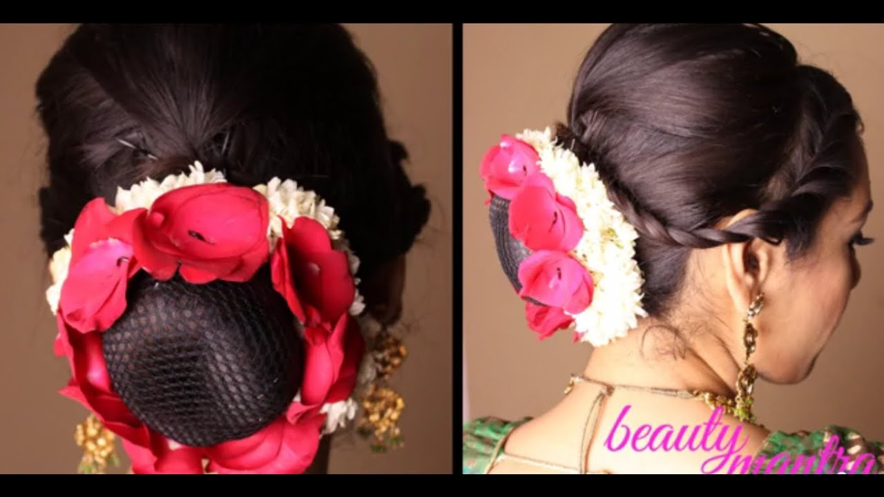 hairstyle - easy bridal updo with gajra and rose petals