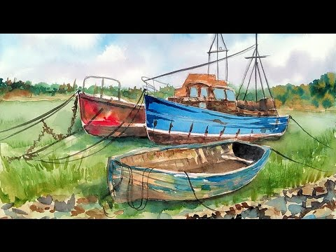 LIVE! Weathered Fishing Boats in Watercolor Tutorial