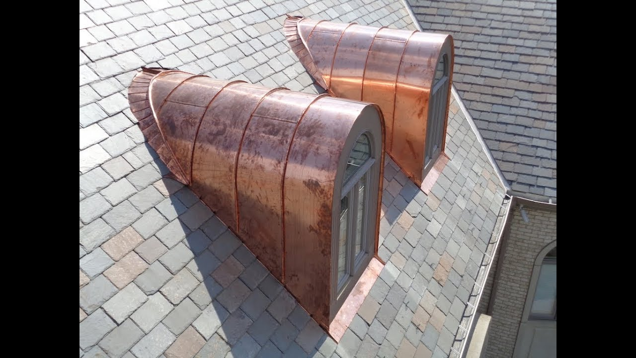 Curved standing seam copper barrel dormers youtube for Barrel dormer