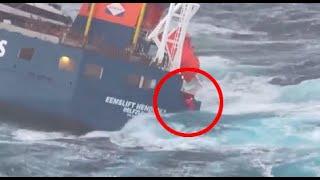 Här räddas besättningen från kantrande fartyget utanför Norge