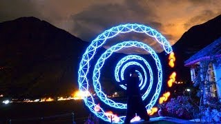 Visual Poi Dance Improv during a beautiful night over the Sacred Valley