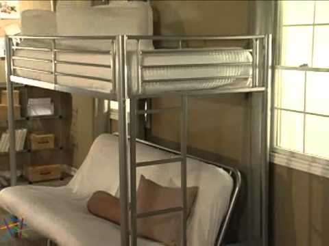 Duro Wesley Twin Over Futon Bunk Bed Silver Product Review Video