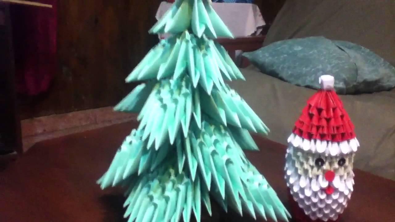 Origami 3d santa claus y rbol de navidad youtube - Arbol de navidad origami ...
