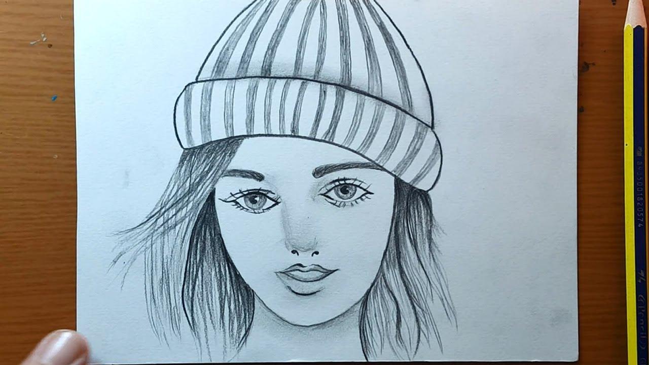 disegni una ragazza che indossa un berretto invernale per principianti |draw girl wearing winter cap