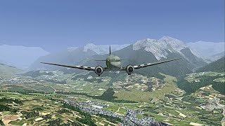 flightgear dc3 c47 lfnc briançon lfna gap tallard juin 2016