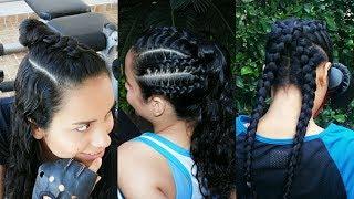 3 Peinados Deportivos con trenzas en Cabello Rizado 💜 Sporty Hairstyles 💚