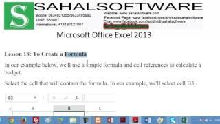 18 dersi bir Formül Oluşturmak - Microsoft Excel 2013 - Sahalsoftware - Af soomaali
