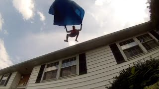 Parachuting off my House with a tarp - 1000 subscribers video