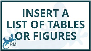 Word: how to insert a list of tables or figures