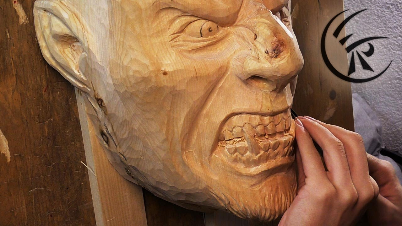 Woodcarving quot wooden mask timelapse youtube