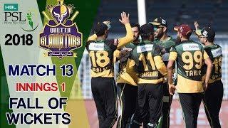 Quetta Gladiators Fall Of Wickets|Multan Sultans Vs Quetta Gladiators| Match 13|3rd Mar|HBL PSL 2018
