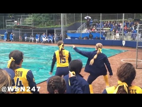 Rival College Softball Teams Have Dugout Dance-Off During Rain
