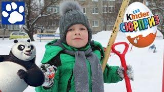 Матвей Ищет Киндер Сюрпризы В Снегу | Kinder Surprise Find In The Snow