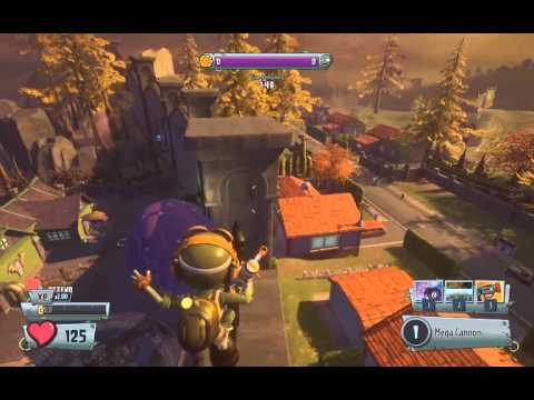 PvzGW2 - parkour locations: rocket leap on top of the huge wall on Zumburbia first garden
