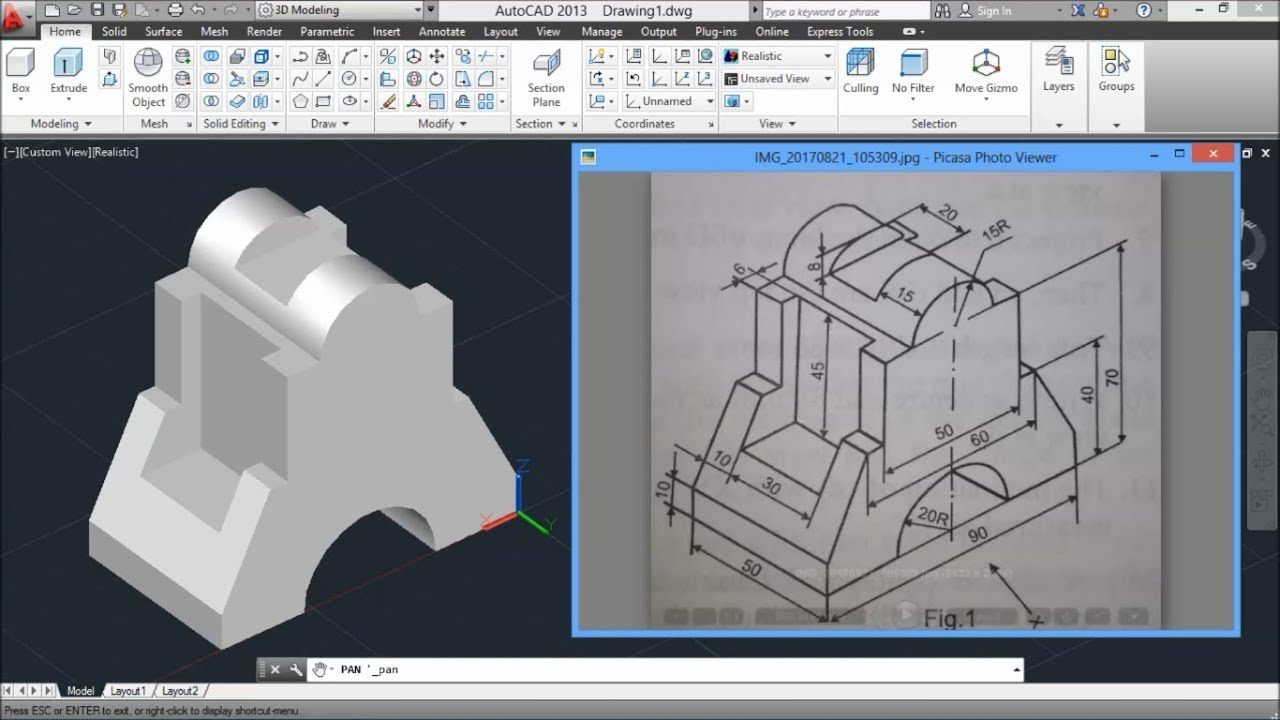 AutoCAD TUTS | 3D Mechanical Drawing For Practice-2 - YouTube