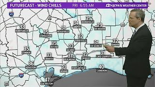 Wind chills near freezing in the morning across SE Texas