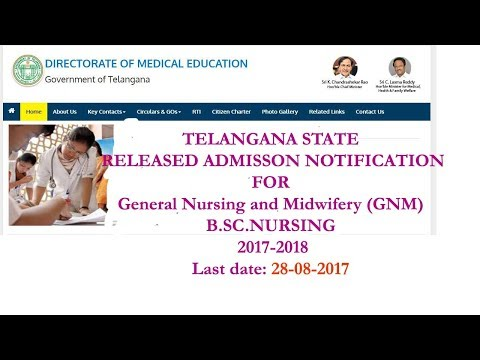 TELANGANA STATE BSC NURSING ADMISSION NOTIFICATION 2017