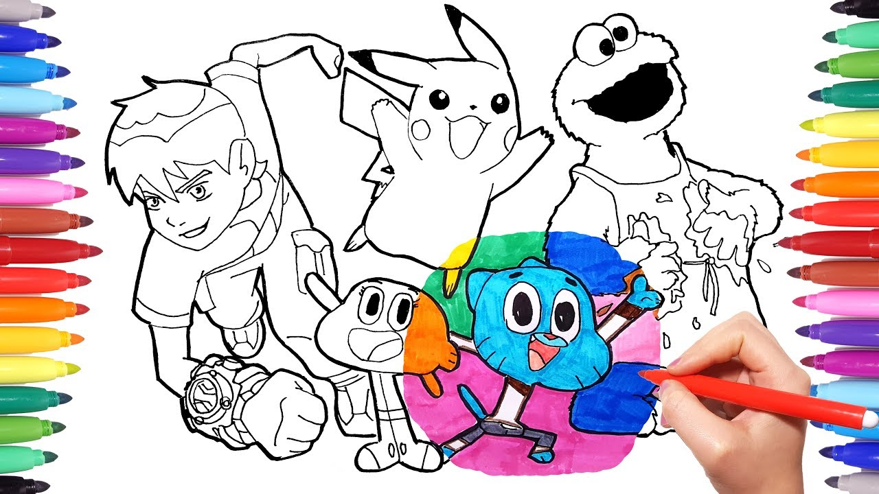 cartoon characters coloring book page 4 ben10 cookie monster