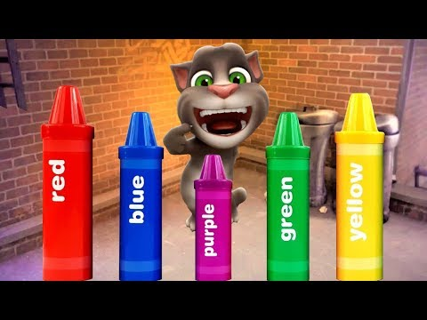 Learn Colors with Talking Cat Tom, Surprise eggs and giant candy, Crayons sorting surprises #6