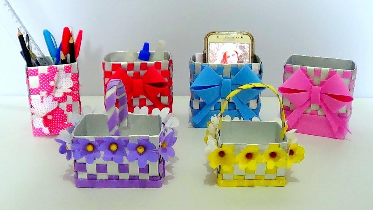 Artesanato Simples Com Lata De Leite ~ DIY Como fazer Caixinha, cestinhas p Pascoa e Porta Caneta de caixa de leite (Artesanato