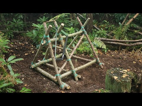 Building a Bushcraft Camp in the Forest - Wood Saw Horse, Tarp Chair, Log Cabin Notches