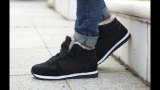 Мужские зимние кроссовки черные синие Men's winter sneakers black blue