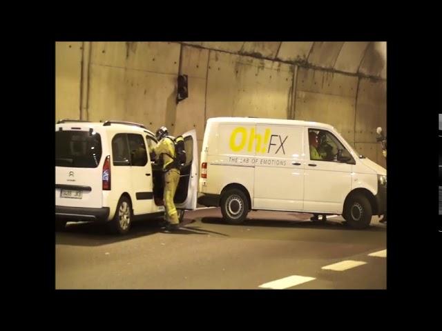 Simulacro de emergencia en el túnel de Valadares