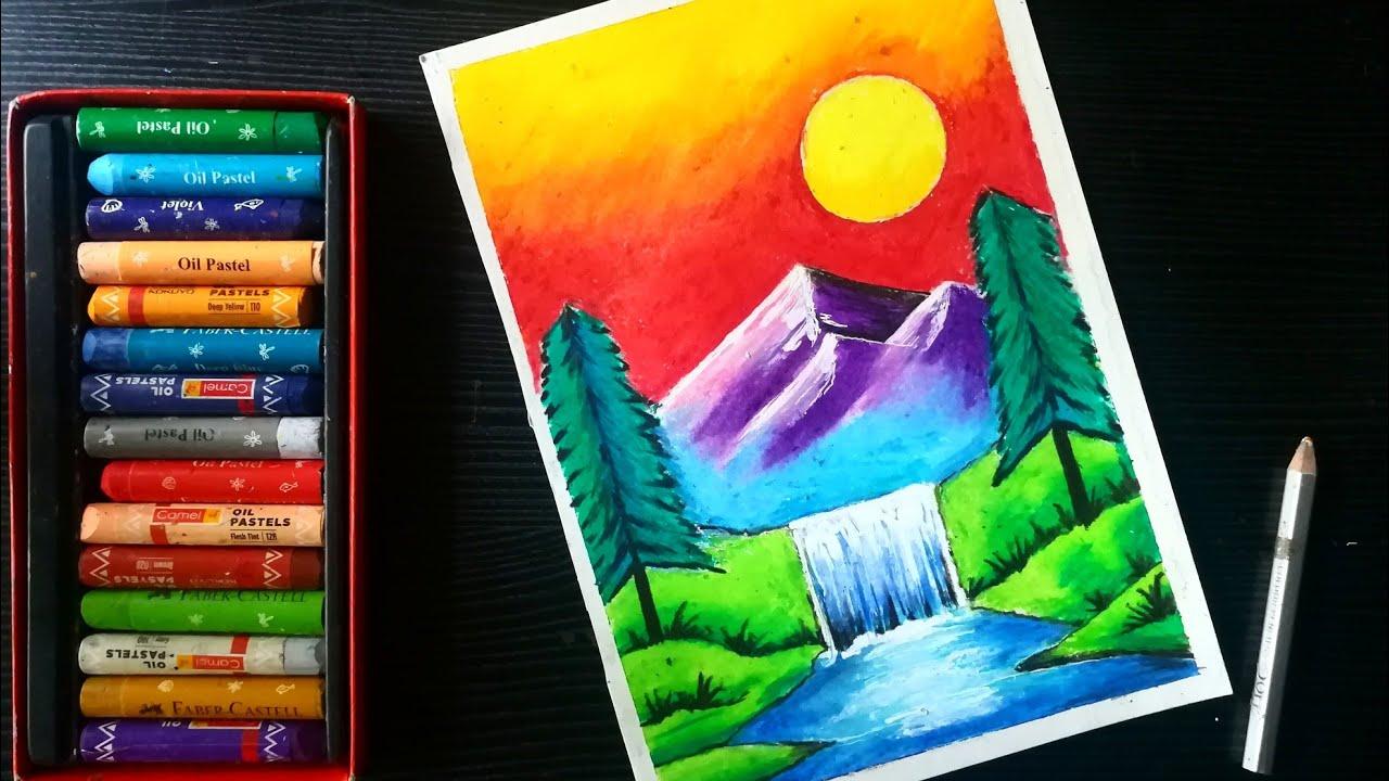 Sunset Waterfall Scenery Oil Pastel Drawing Oil Pastel Landscape